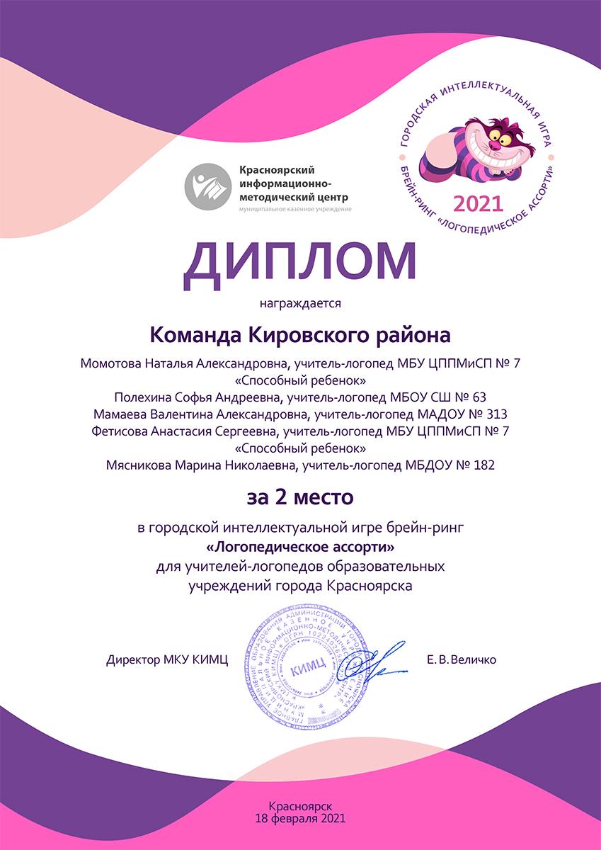 Диплом Логопедическое ассорти 2021
